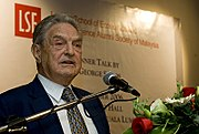 George Soros (BSc '52) speaking to the LSE Alumni Society of Malaysia.