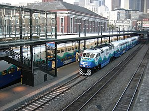 Sounder commuter rail - Two Sounder trainsets at King Street Station in Seattle