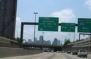 Transportation in Dallas - North Central Expressway southbound towards downtown Dallas