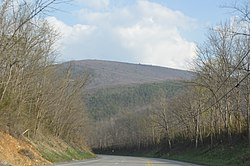 Jacks Mountain, a major feature of the township's topography, seen from across the Juniata River
