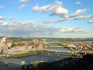 Uptown (visible on the left side of the image) overlooking the Monongahela River.