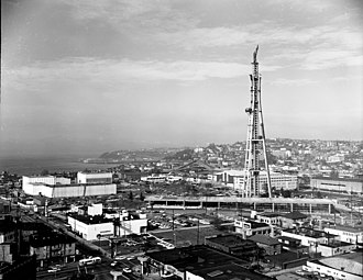 Space Needle - Space Needle  and various buildings for the Seattle World's Fair under construction - 1961.