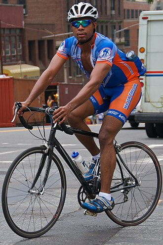 Spandex - Cyclist wearing a pair of spandex shorts and a cycling jersey