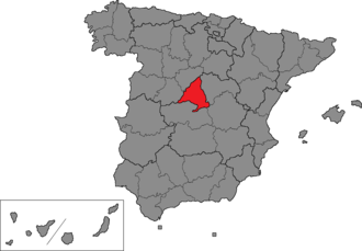 Madrid (Congress of Deputies constituency) - Location of Madrid within Spain