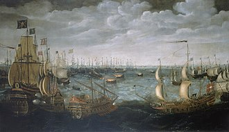 Spanish Armada - English fireships are launched at the Spanish armada off Calais