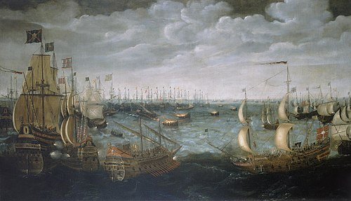 Launch of English fireships against the Spanish Armada, 7 August 1588. Spanish Armada fireships.jpg