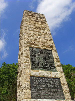 Lijepa naša domovino - Monument to Croatian national anthem in Zelenjak