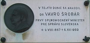 Vavro Šrobár - Memorial plaque on Šrobár's house