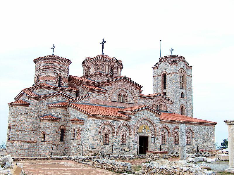 Възстановената църква Св. Пантелеймон в Охрид, където се съхраняват мощите на Св. Климент Охридски
