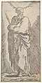 St. Bartholomew, standing in frontal view with head facing to right and holding martyr's palm with both arms, from the series 'Christ and the Twelve Apostles' MET DP832600.jpg