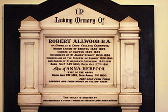 Robert Allwood - A memorial to Allwood on the wall of St James' Church, Sydney