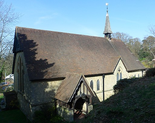 St Mark's Church, Walking Bottom, Peaslake (March 2014, from Southwest)