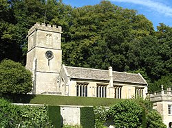 St Peter's Church, Dyrham, from house lawn (cropped).jpg