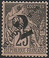 Stamp-St Pierre 1891 25Fr overprint.jpg