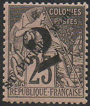 Stamp-St Pierre 1891 25Fr overprint