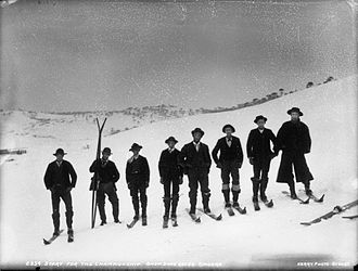 "Adaminaby - Start of championship ""snow shoe"" races at Kiandra in 1900. Adaminaby is the main service town for the Northern NSW skifields, where skiing in Australia began in the 1860s"