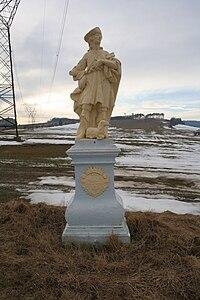 Statue of Saint Wendelin in Bolíkovice, Babice, Třebíč District.jpg