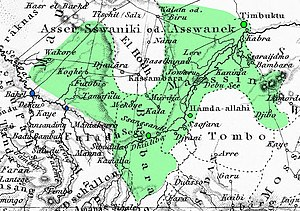Toucouleur Empire - A contemporary German map showing states prior to the rise of Umar Tall, coloured to represent Umar's empire in 1861. Conquered capitals in green, French forts in blue. The unoccupied region in the center is the waste of Hodh.