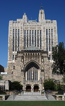 Facade and tower of Sterling Memorial Library at middle distance, from Yale University's Cross Campus.