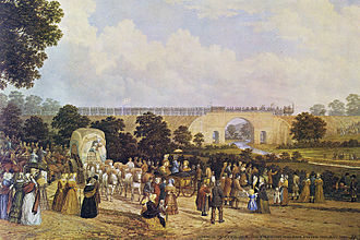 1825 in rail transport - Opening of Stockton and Darlington Railway c1825, painted in the 1880s  by John Dobbin