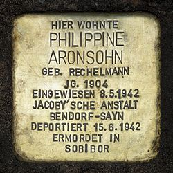 Photo of Philippine Aronsohn brass plaque