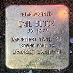 Photo of Emil Block brass plaque
