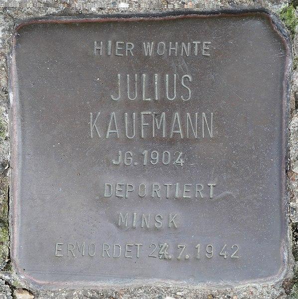 File:Stolpersteine Kommern, Julius Kaufmann (Mühlengasse 24).jpg