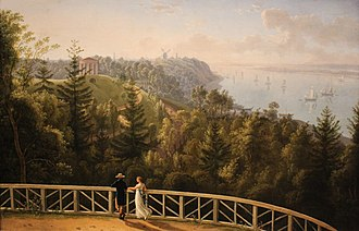 Elbe Urstromtal - View from Baur's Park to Hamburg. An 1811 painting by L.P. Strack illustrating the steep Geest slope.