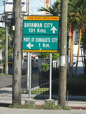 Philippine Nautical Highway System - SRNH signage in Dumaguete City, showing directions and distances to major cities and ports