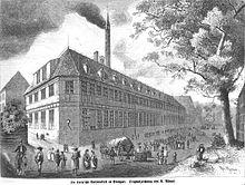 Die Cottasche Buchdruckerei in Stuttgart. Grafik von Robert Aßmus. (Quelle: Wikimedia)