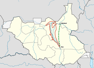 Jonglei Canal - The Sudd wetlands (red) and the aborted Jonglei Canal project (green) in South Sudan.