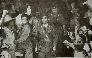 Panglima - Panglima Besar General Sudirman (center), the first Commander of Indonesian National Armed Forces, arriving in Jakarta on 1 November 1946