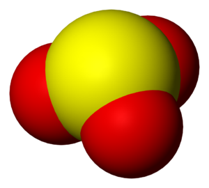 Sulfite - A space-filling model of the sulfite anion.