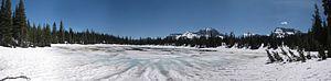 Summit Lake (Alberta) - Summit Lake looking toward Mount Custer and Chapman Peak