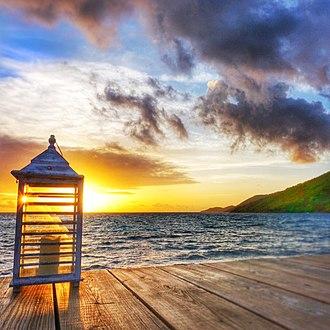 Saba Rock - Image: Sunset at Saba Rock Resort, British Virgin Islands