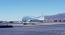 Picture from the rear of a Super Guppy Turbine airplane