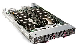 Blade server - Supermicro SBI-7228R-T2X blade server, containing two dual-CPU server nodes