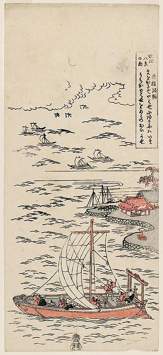 Eight Views of Ōmi - Image: Suzuki Harunobu (c. 1760) Ōmi Hakkei no Uchi Yabase Kihan