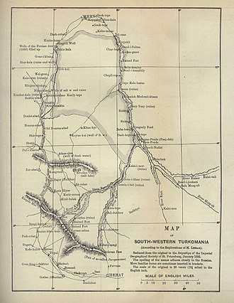 """Perry-Castañeda Library Map Collection - """"Map of South Western Turkomania"""" (now Turkmenistan), 1887., from the Perry-Castañeda Library Map Collection."""