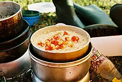 Swedish cuisine-Oatmeal with cloudberry.jpg