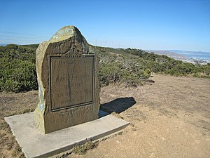 "Sweeney Ridge - Image: Sweeney Ridge, Portola Discovery Site marker. ""From this ridge the Portola expedition discovered San Francisco Bay November 4, 1769"" panoramio"