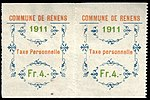 Switzerland Renens 1911 revenue 5 4Fr - 25aC and 26aC pair.jpg