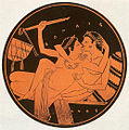 Symposium scene at an attic red figure tondo of a kylix Yale University.jpg