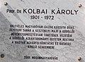 Széchenyi István University, plaque of Prof. Károly Kolbai, 2017 Mosonmagyaróvár.jpg