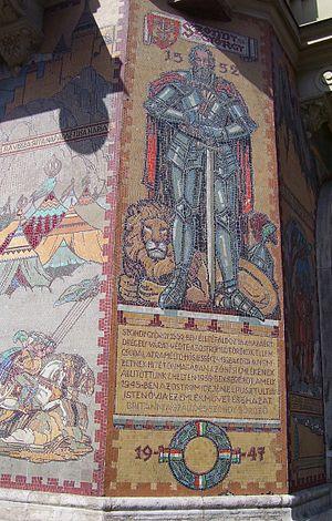 György Szondy - Mosaic of Szondy on the corner of Szondi Street and Teréz Avenue, Budapest