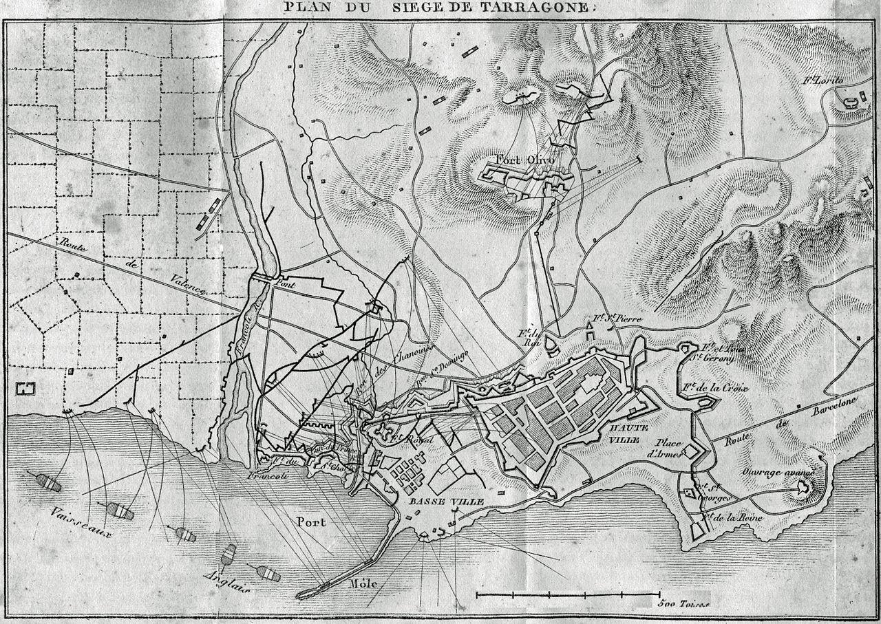 Plan von der Belagerung zu Tarragona. Quelle: https://fr.wikipedia.org/wiki/Si%C3%A8ge_de_Tarragone_(1811)#/media/File:T11_n%C2%B089_si%C3%A8ge_TARRAGONE.jpg