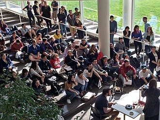 University of Illinois School of Architecture - An architecture class meeting in Blicharski Atrium of Temple Buell Hall