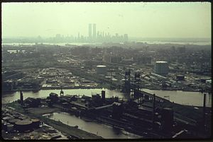 THE HACKENSACK RIVER IN NEW JERSEY WITH THE MA...
