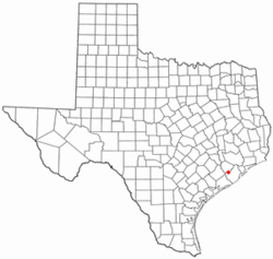 Location of Damon, Texas.