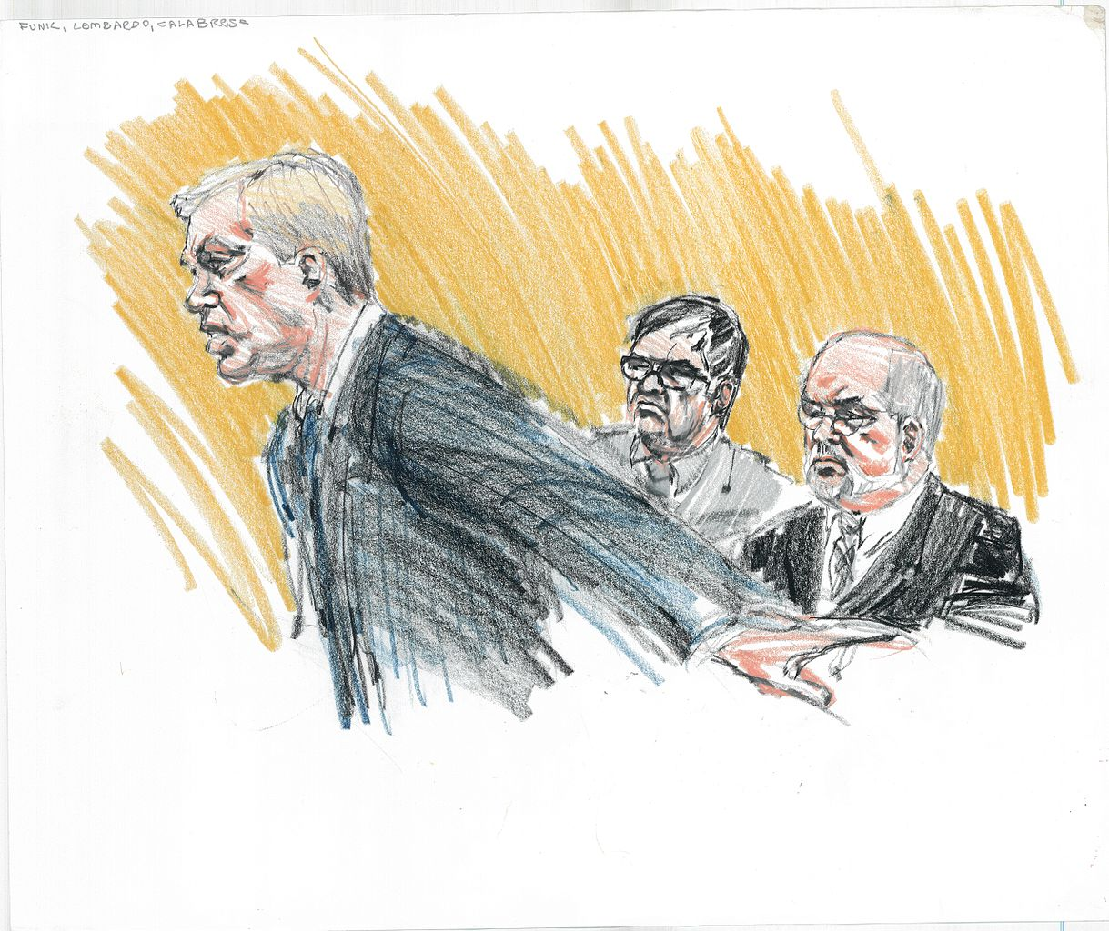 Legal drama in artworks: Marcia Danitz, Sketch of T. Markus Funk, Joseph Lombardo and Frank Calabrese Sr. during the Family Secrets Trial.